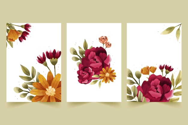 Collection de cartes florales aquarelles peintes à la main