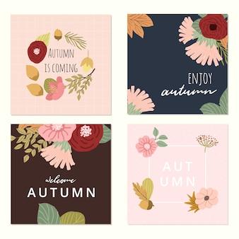 Collection de cartes florales automne
