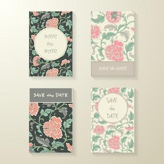 Collection de cartes florales de couleurs ornementales
