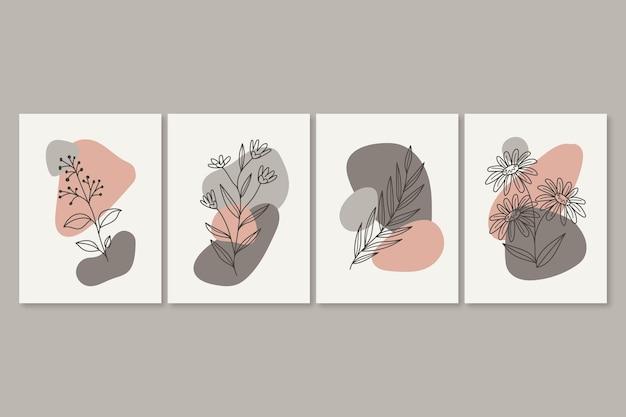Collection de cartes florales dessinées à la main