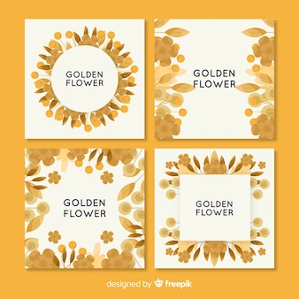 Collection de cartes florales dorées
