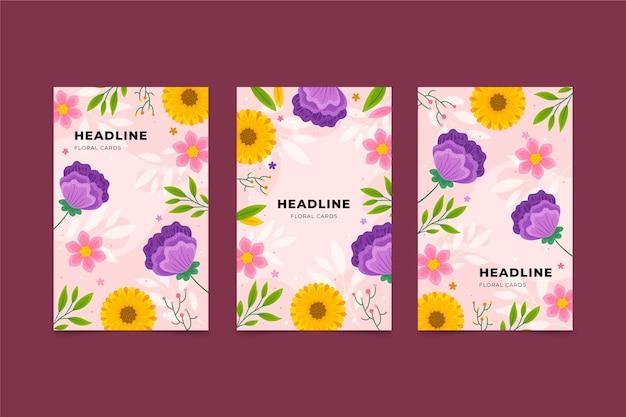 Collection de cartes florales plates