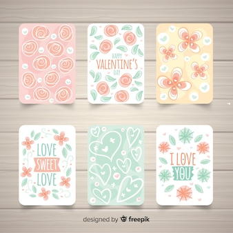 Collection de cartes florales pour la saint-valentin
