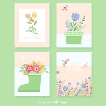 Collection de cartes florales de printemps