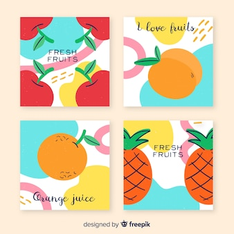 Collection de cartes de fruits dessinés à la main