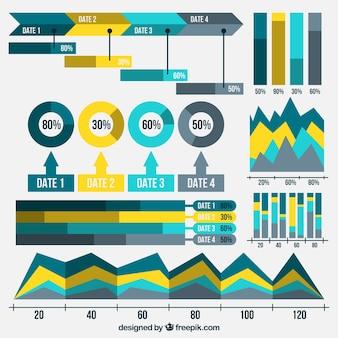 Collection de cartes graphiques utiles pour infographies