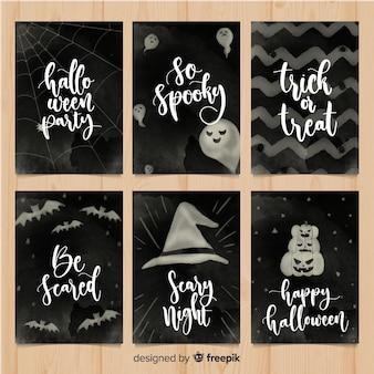 Collection de cartes halloween aquarelle élégante