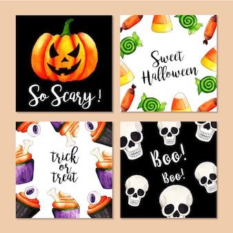 Collection de cartes halloween aquarelle