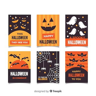 Collection de cartes halloween au design plat