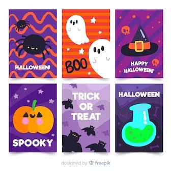 Collection de cartes halloween au design plat