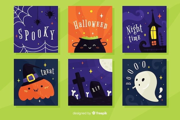 Collection de cartes halloween design plat