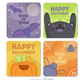 Collection de cartes halloween dessinée à la main