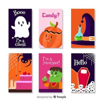 Collection de cartes halloween dessinée à la main