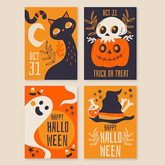 Collection de cartes d'halloween dessinés à la main