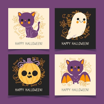 Collection de cartes d'halloween dessinés à la main