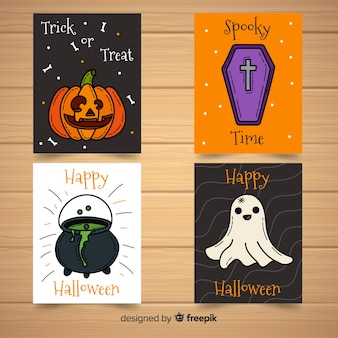 Collection de cartes de halloween heureux dans un style dessiné à la main