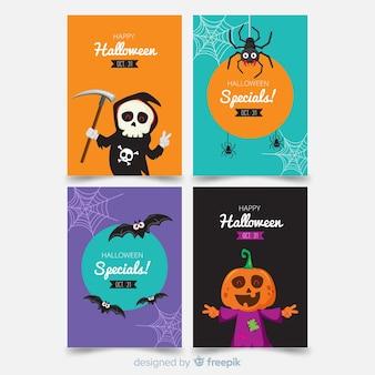 Collection de cartes d'halloween avec des monstres cool