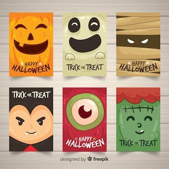 Collection de cartes d'halloween avec des monstres rigolos