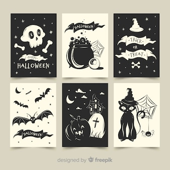 Collection de cartes halloween plat en noir et blanc