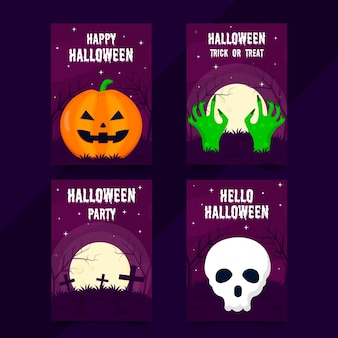 Collection de cartes halloween plat