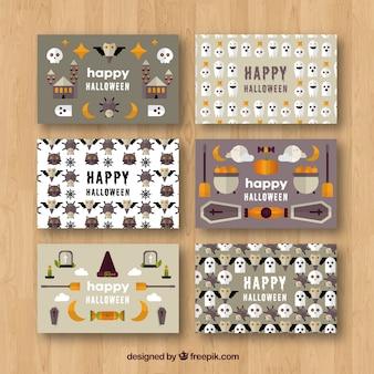 Collection de cartes de halloween avec style moderne