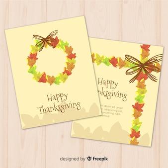 Collection de cartes happy thanksgiving au design plat avec des feuilles d'automne