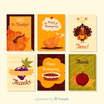 Collection de cartes happy thanksgiving day style dessiné à la main