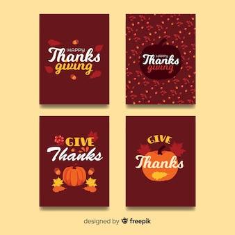 Collection de cartes happy thanksgiving day