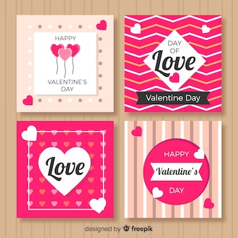 Collection de cartes imprimées pour la saint-valentin