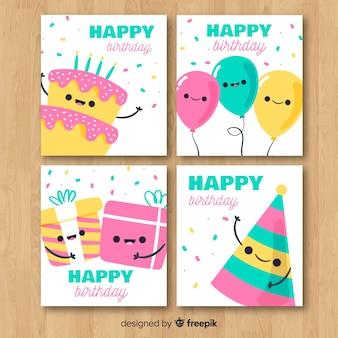 Collection de cartes d'invitation anniversaire dessinées à la main