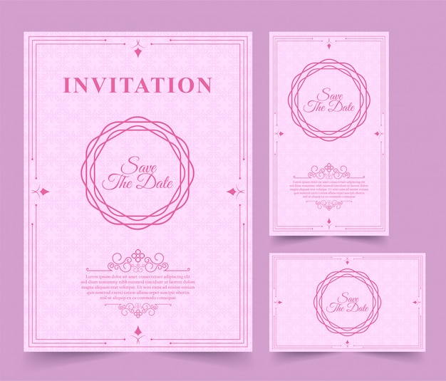 Collection de cartes d'invitation design style vintage avec une couleur rose tendre.