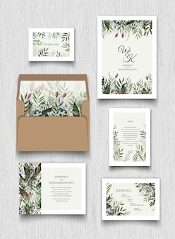 Collection de cartes d'invitation florale.
