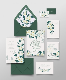 Collection de cartes d'invitation jasmin.