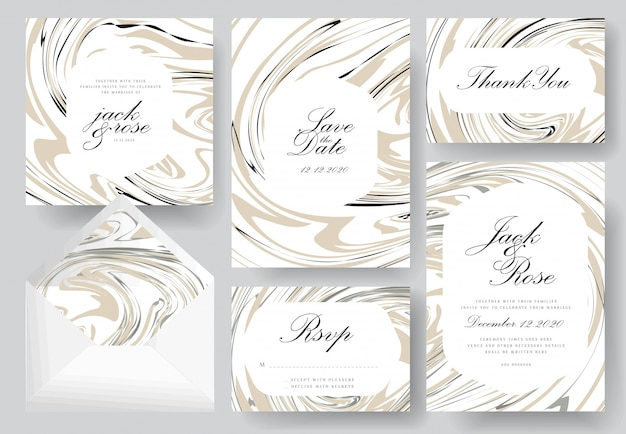 Collection de cartes d'invitation de mariage abstrait