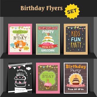 Collection de cartes d'invitation ou de prospectus pour fête d'anniversaire
