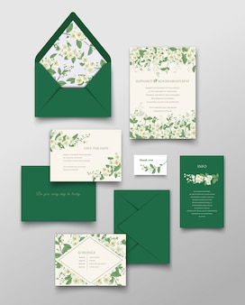 Collection de cartes d'invitations et de lettres de jasmin.