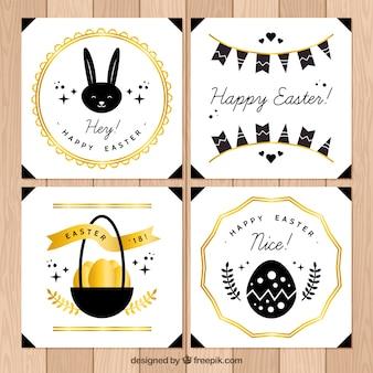 Collection de cartes de jour de pâques noir et or
