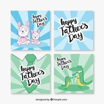 Collection des cartes de jour de père dessiné à la main