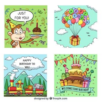 Collection de cartes joyeux anniversaire dans un style dessiné à la main