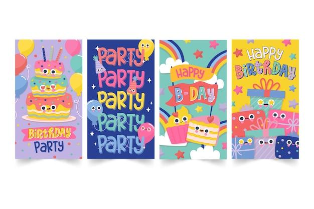 Collection de cartes de joyeux anniversaire