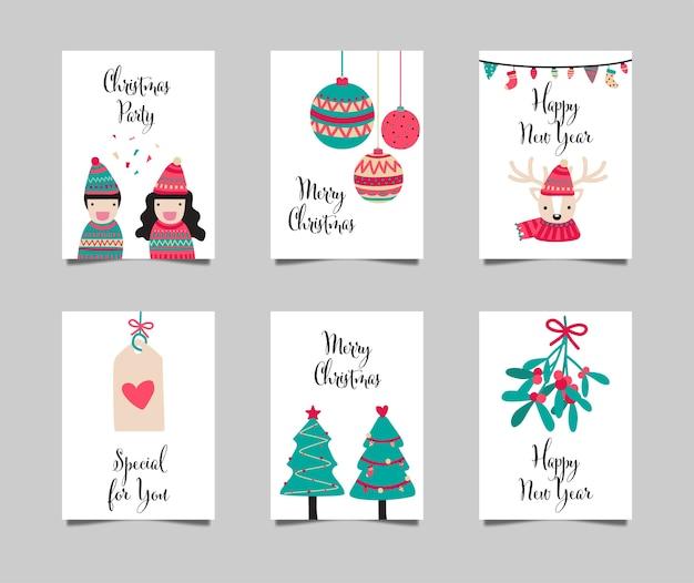 Collection de cartes de joyeux noël et bonne année
