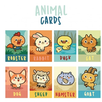 Collection de cartes kawaii avec ensemble d'autocollants animaux mignons