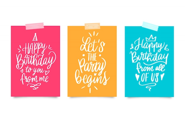 Collection de cartes de lettrage joyeux anniversaire