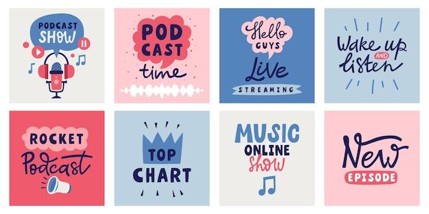 Collection de cartes de lettrage de podcast. étiquettes et éléments graphiques vectoriels