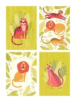 Collection de cartes avec lion, léopard, tigre