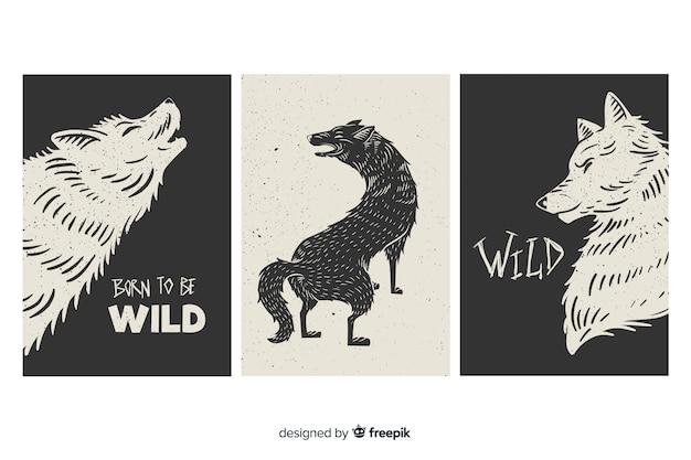 Collection de cartes de loups sauvages, noir et blanc