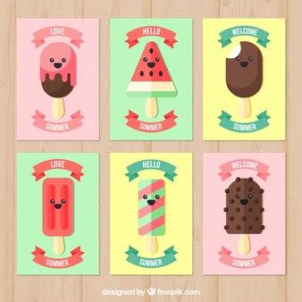 Collection de cartes magnifiques avec de jolis personnages de glaces