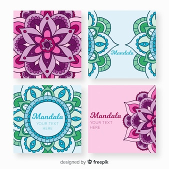 Collection de cartes de mandala dessinés à la main