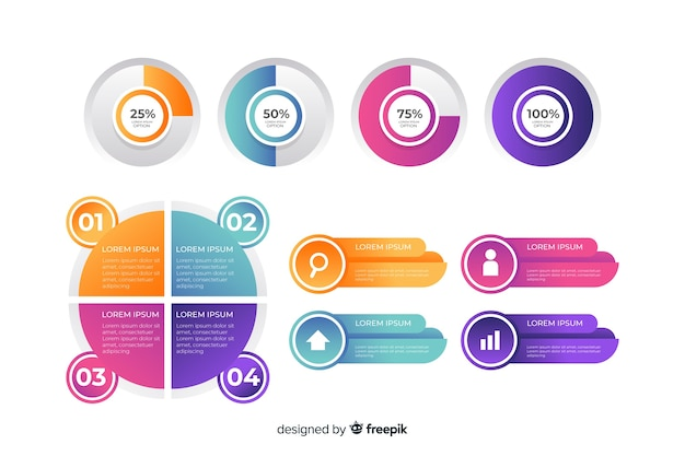 Collection de cartes marketing infographiques