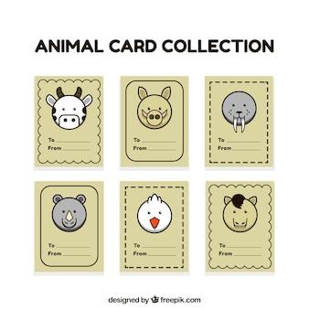 Collection de cartes mignonnes avec des visages d'animaux